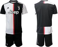 Mens 19-20 Soccer Juventus Club Blank White & Black Home Short Sleeve Suit Jersey