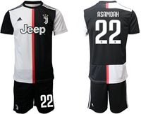 Mens 19-20 Soccer Juventus Club #22 Kwadwo Asamoah White & Black Home Short Sleeve Suit Jersey