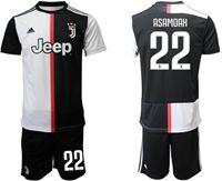 Mens 19-20 Soccer Juventus Club #22 Kwadwo Asamoah White & Black Home Short Sleeve Suit Jersey