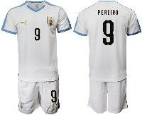 Mens 19-20 Soccer Uruguay National Team #9 Gaston Pereiro White Home Short Sleeve Suit Jersey