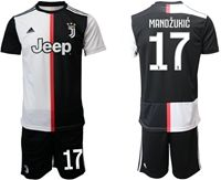 Mens 19-20 Soccer Juventus Club #17 Mario Mandzukic White & Black Home Short Sleeve Suit Jersey