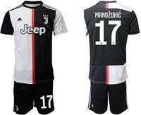 Mens 19-20 Soccer Juventus Club #17 Mario Mandzukic White & Black Home Short Sleeve Suit Jersey