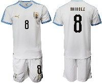 Mens 19-20 Soccer Uruguay National Team #8 Nahitan Naindez White Home Short Sleeve Suit Jersey