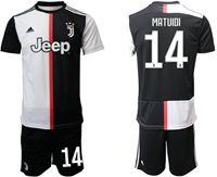 Mens 19-20 Soccer Juventus Club #14 Blaise Matuidi White & Black Home Short Sleeve Suit Jersey