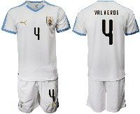 Mens 19-20 Soccer Uruguay National Team #4 Federico Valverde White Home Short Sleeve Suit Jersey