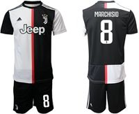Mens 19-20 Soccer Juventus Club #8 Claudio Marchisio White & Black Home Short Sleeve Suit Jersey
