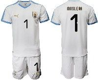 Mens 19-20 Soccer Uruguay National Team #1 Fernando Muslera White Home Short Sleeve Suit Jersey