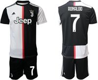 Mens 19-20 Soccer Juventus Club #7 Cristiano Ronaldo White & Black Home Short Sleeve Suit Jersey