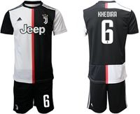 Mens 19-20 Soccer Juventus Club #6 Sami Khedira White & Black Home Short Sleeve Suit Jersey
