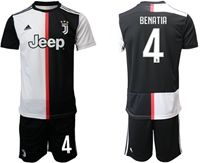 Mens 19-20 Soccer Juventus Club #4 Medhi Benatia White & Black Home Short Sleeve Suit Jersey