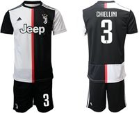 Mens 19-20 Soccer Juventus Club #3 Giorgio Chiellini White & Black Home Short Sleeve Suit Jersey