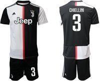 Mens 19-20 Soccer Juventus Club #3 Giorgio Chiellini White & Black Home Short Sleeve Suit Jersey