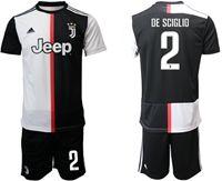 Mens 19-20 Soccer Juventus Club #2 Mattia De Sciglio White & Black Home Short Sleeve Suit Jersey