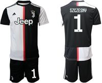Mens 19-20 Soccer Juventus Club #1 Wojciech Szczesny White & Black Home Short Sleeve Suit Jersey