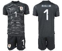 Mens 19-20 Soccer Uruguay National Team #1 Fernando Muslera Black Goalkeeper Short Sleeve Suit Jersey