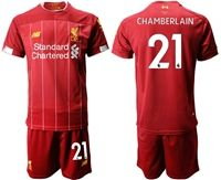 Mens 19-20 Soccer Liverpool Club #21 Chamberlain Red Home Short Sleeve Suit Jersey
