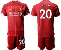 Mens 19-20 Soccer Liverpool Club #20 Adam Lallana Red Home Short Sleeve Suit Jersey