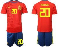 Mens 19-20 Soccer Spain National Team #20 Marco Asensio Red Home Adidas Short Sleeve Suit Jersey
