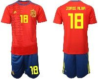 Mens 19-20 Soccer Spain National Team #18 Jordi Alba Red Home Adidas Short Sleeve Suit Jersey