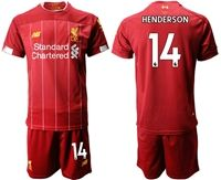 Mens 19-20 Soccer Liverpool Club #14 Jordan Henderson Red Home Short Sleeve Suit Jersey