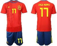 Mens 19-20 Soccer Spain National Team #17 Iago Aspas Red Home Adidas Short Sleeve Suit Jersey