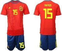 Mens 19-20 Soccer Spain National Team #15 Ramos Red Home Adidas Short Sleeve Suit Jersey