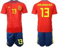 Mens 19-20 Soccer Spain National Team #13 Kepa Arrizabalaga Red Home Adidas Short Sleeve Suit Jersey