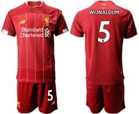 Mens 19-20 Soccer Liverpool Club #5 Georginio Wijnaldum Red Home Short Sleeve Suit Jersey