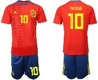 Mens 19-20 Soccer Spain National Team #10 Thiago Red Home Adidas Short Sleeve Suit Jersey