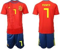 Mens 19-20 Soccer Spain National Team #7 Alvaro Morata Red Adidas Short Sleeve Suit Jersey
