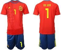 Mens 19-20 Soccer Spain National Team #1 David De Gea Red Adidas Short Sleeve Suit Jersey