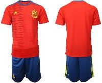 Mens 19-20 Soccer Spain National Team Blank Red Adidas Short Sleeve Suit Jersey