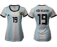 Women 19-20 Soccer Argentina National Team #19 Kun Acuero White Adidas Home Short Sleeve Jersey