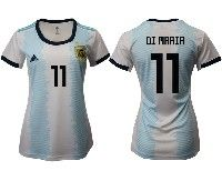 Women 19-20 Soccer Argentina National Team #11 Angel Di Maria White Adidas Home Short Sleeve Jersey
