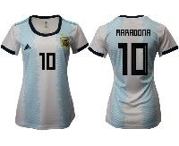 Women 19-20 Soccer Argentina National Team #10 Diego Maradona White Adidas Home Short Sleeve Jersey