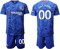Mens 19-20 Soccer Chelsea Club ( Custom Made ) Blue Home Short Sleeve Suit Jersey