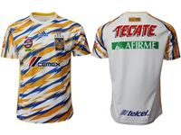 Mens 19-20 Soccer Club Tigres Uanl ( Custom Made ) White Second Away Short Sleeve Suit Jersey
