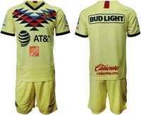Mens 19-20 Soccer Club America ( Custom Made ) Yellow Home Short Sleeve Suit Jersey