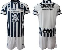 Mens 19-20 Soccer Club De Fútbol Monterrey ( Custom Made ) White Short Sleeve Suit Jersey
