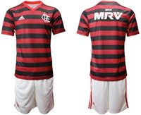 Mens 19-20 Soccer Flamengo Rj Club ( Custom Made ) Red And Black Stripe Home Short Sleeve Suit Jersey