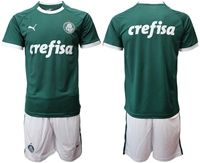 Mens 19-20 Soccer Se Palmeiras Club ( Custom Made ) Green Home Short Sleeve Suit Jersey