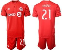 Mens 19-20 Soccer Club Toronto Fc #21 Osorio Red Home Short Sleeve Suit Jersey