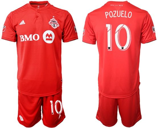 Mens 19-20 Soccer Club Toronto Fc #10 Pozuelo Red Home Short Sleeve Suit Jersey