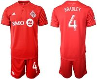 Mens 19-20 Soccer Club Toronto Fc #4 Michael Bradley Red Home Short Sleeve Suit Jersey
