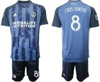 Mens 19-20 Soccer Galaxy Club #8 Jonathan Dos Santos Blue Away Short Sleeve Suit Jersey