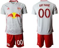 Mens 19-20 Soccer New York Red Bulls Club ( Custom Made ) Gray Home Short Sleeve Suit Jersey