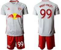 Mens 19-20 Soccer New York Red Bulls Club #99 Wright-phillips White Home Short Sleeve Suit Jersey