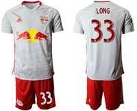 Mens 19-20 Soccer New York Red Bulls Club #33 Long White Home Short Sleeve Suit Jersey