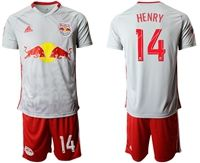 Mens 19-20 Soccer New York Red Bulls Club #14 Henry White Home Short Sleeve Suit Jersey