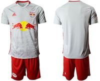 Mens 19-20 Soccer New York Red Bulls Club Blank White Home Short Sleeve Suit Jersey